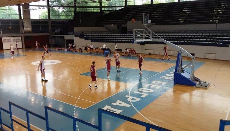 Latvijas basketbola izlases pirmais treniņš Belgradā pirms Rio kvalifikācija