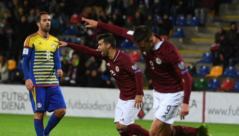 Latvijas futbola izlase neveiksmīgo PK kvalifikāciju noslēdz ar Andoras sagraušanu