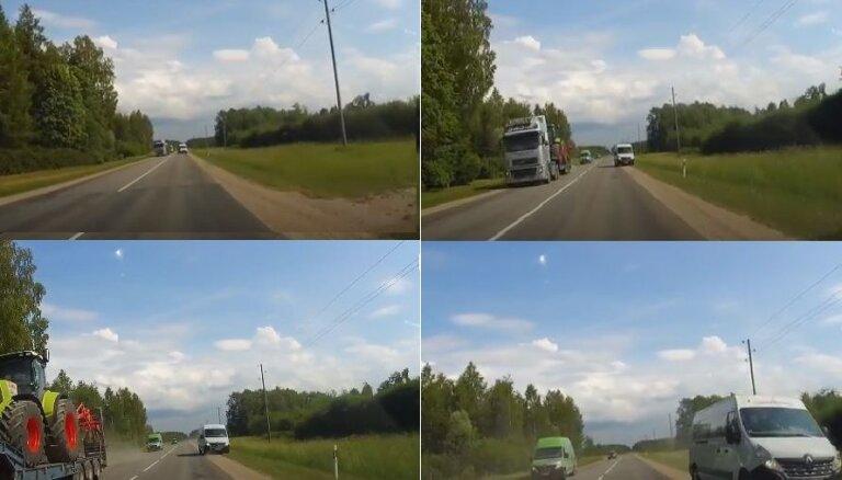 Video: Nepārdomāts autovadītāja apdzīšanas manevrs gandrīz noved pie smagas sadursmes