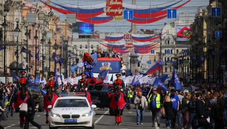 ФОТО, ВИДЕО: Чемпионский парад в Санкт-Петербурге хоккейного СКА