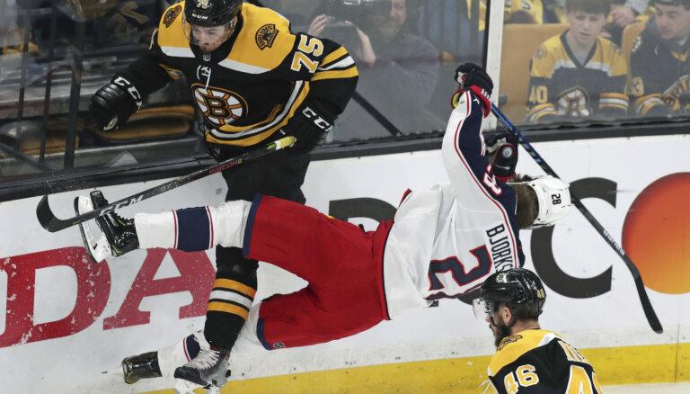 Merzļikina pārstāvētā 'Blue Jackets' otrajā pagarinājumā panāk izlīdzinājumu sērijā pret 'Bruins'
