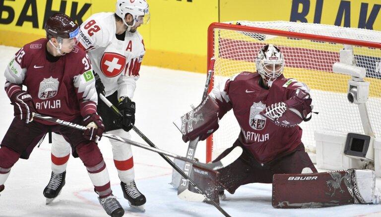 Latvijas izlase dramatiski zaudē pasaules vicečempionei Šveicei