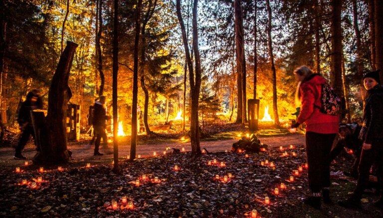 Maģiski foto: Uguns nakts Vienkoču parkā
