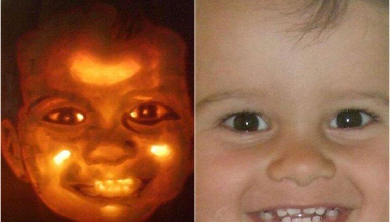 Foto: Radošs tētis Lielbritānijā ķirbī iegrebj savu bērnu sejas
