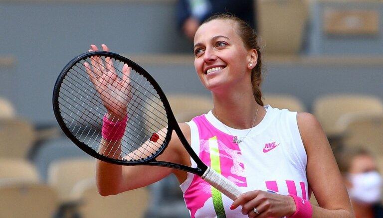 Kvitova pirmo reizi pēdējo astoņu gadu laikā sasniedz 'French Open' pusfinālu