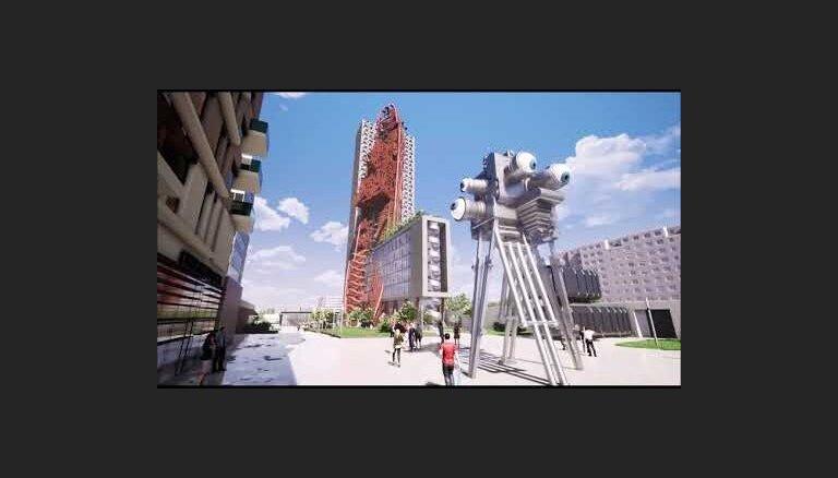 """ФОТО, ВИДЕО: В Праге хотят построить необычный небоскреб с """"врезавшимся"""" в него кораблем"""