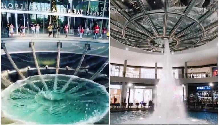 Lietus ūdens virpulis Singapūrā, kas izveidots uz lielveikala jumta