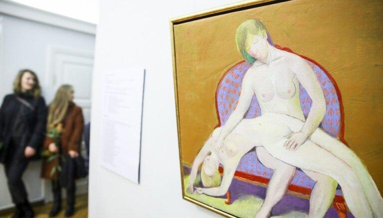 Foto: Zinātņu akadēmijā atklāta gleznotāja, LMA rektora Kristapa Zariņa izstāde