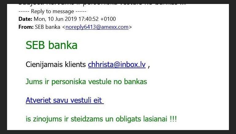 Банк SEB предупреждает клиентов о письмах мошенников