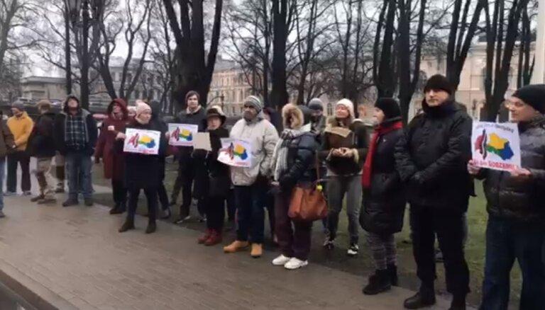 ВИДЕО: На флэшмоб в поддержку Гобземса пришло около 40 человек