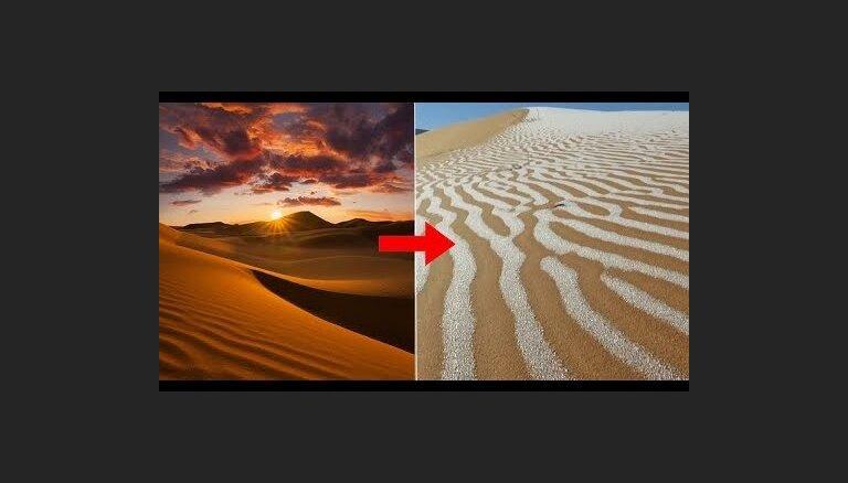 ФОТО. Снегопад в пустыне Сахара оставил необычные узоры на песке