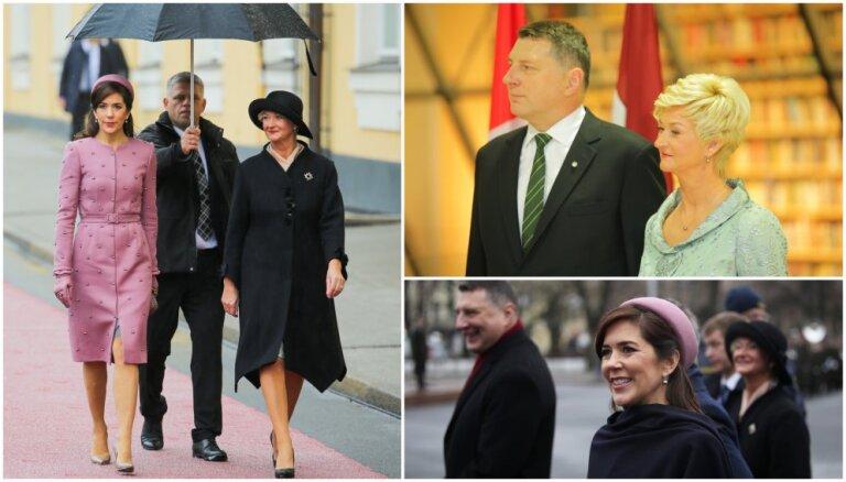 Foto: Dānijas kroņprincese un Latvijas pirmā lēdija priecē ar eleganci