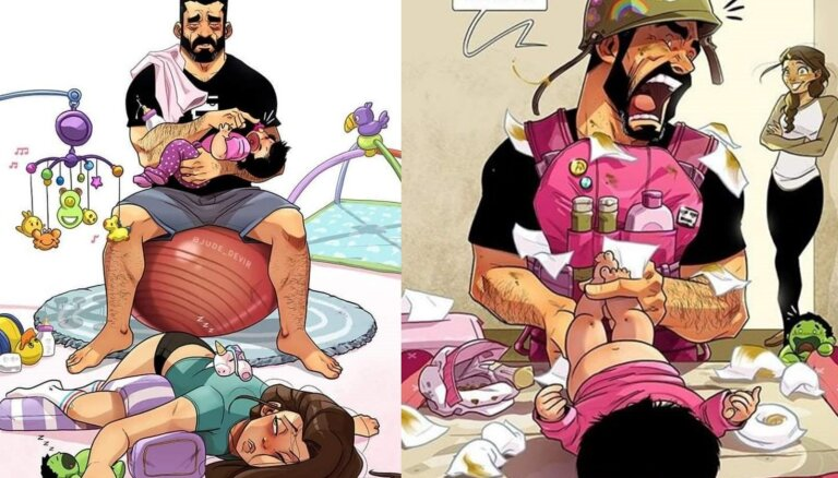 Foto: Mākslinieks amizantās ilustrācijās attēlo lielākos izaicinājumus, kļūstot par tēvu