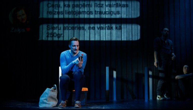 Foto: Dīcis, Seņkovs, Liuzniks – 'Arī vaļiem ir bail' Nacionalajā teātrī