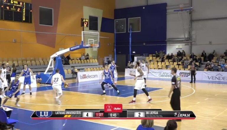 'OlyBet' basketbola līga: LU - Liepāja. Spēles labākie momenti (09.12.2018.)