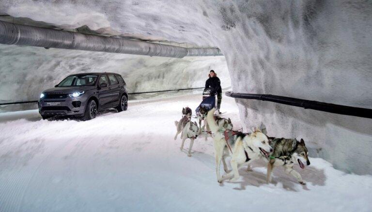Video: 'Land Rover' apvidnieks pret suņu pajūgu sniega tuneļa izaicinājumā