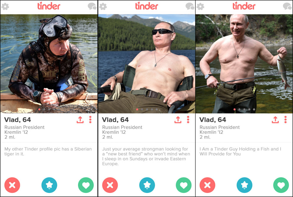 """Vlad, 64. Russian President"". СМИ нашли фотки Путина в сервисе для знакомств Tinder!"