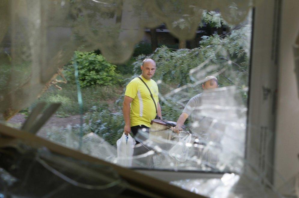 Dzīvokļi pēc apšaudes Slovjanskā